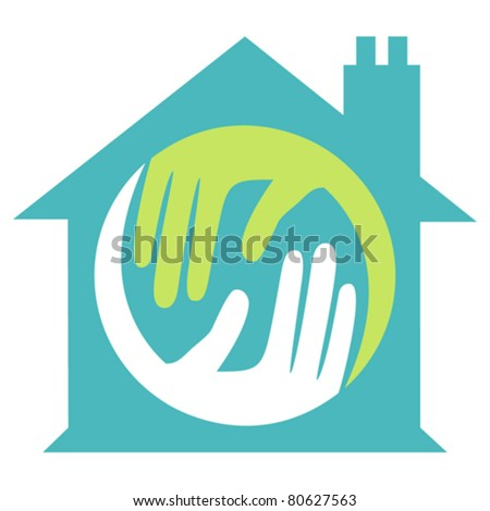 Home with caring hands concept.
