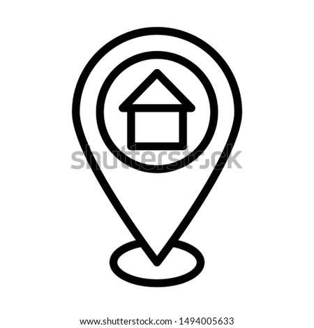 Home with Pointer for Address or Map Pointers Vector Icon