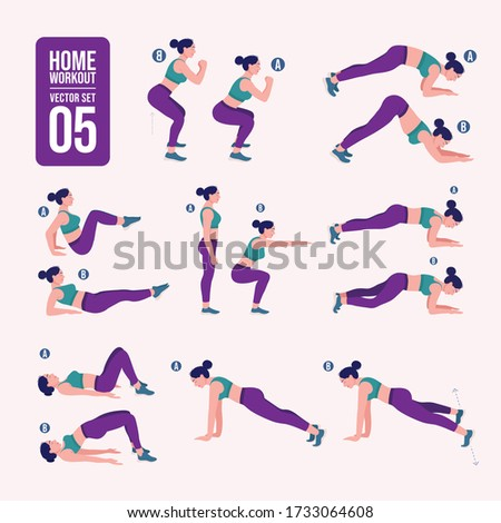 home workout set. Set of sport exercises. Exercises with free weight.Illustration of an active lifestyle. Woman doing fitness and yoga exercises