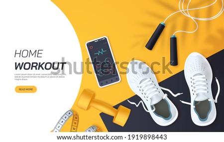 Home workout vector illustration. Flat lay composition with white sports sneakers, dumbbells,skipping rope and measuring tape. Fitness and training at home. Healthy lifestyle. Realistic 3d style.