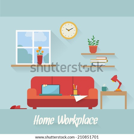 Home workplace flat vector design Workspace for freelancer and home work