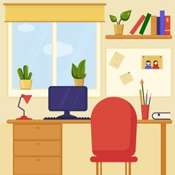 Home workplace with computer and bookshelf located near with window and decorated by plants in spots