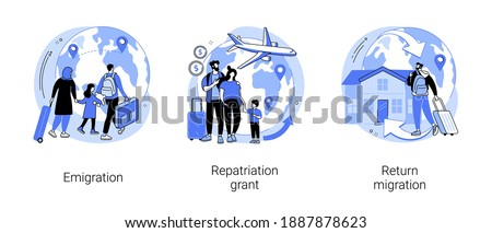 Homeland abstract concept vector illustration set. Emigration, repatriation grant, return migration, foreign residence, resident country, moving abroad, flying home, job offer abstract metaphor. Photo stock ©