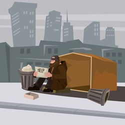 Homeless bearded in shabby clothes, background city, cardboard dwelling, holding in hands a sign of help, vector cartoon style banner illustration