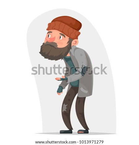Homeless Bum Poor Male Character Beg Help Money Hand Isolated Icon Cartoon Design Vector Illustration