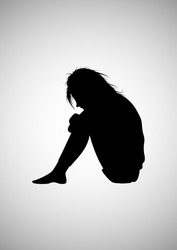 Homeless girl silhouette picture