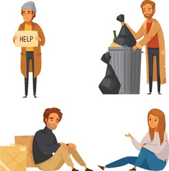 Homeless man and woman. Pair of bums, beggars, vagrants or vagabonds. Poor male and female cartoon characters. vector illustration