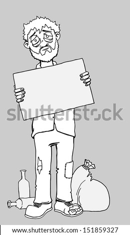 Homeless Black Man Clipart Homeless man holding a blank