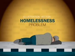 Homeless man is sleeping on the footpath. Homelessness problem illustration vector.