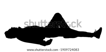 Homeless man sleeping on street in park vector silhouette isolated. Migrant resting on ground. Social crises. Refugee boy sleep. Unconscious collapsed man laying down. Tired boy rest outdoor in park. Stockfoto ©