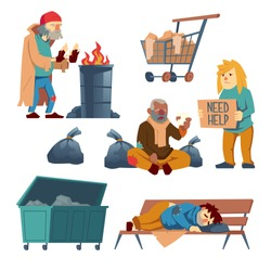 Homeless people cartoon vector characters set isolated on white background. Poor man sleeping on bench, woman asking for help with signboard in hands, beggar warming palms, begging alms illustration