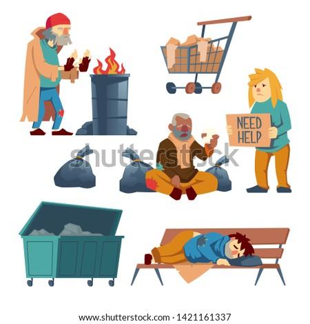 homeless people cartoon vector