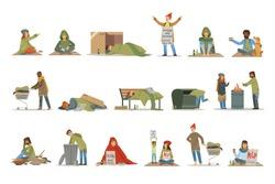Homeless people characters set. Unemployment men needing help vector illustrations