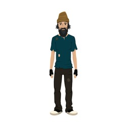 Homeless skinny shaggy man in dirty old clothes. Vector illustration.
