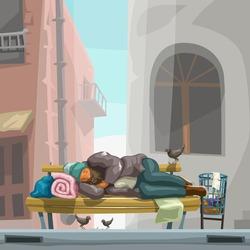 homeless sleeping on city bench