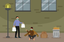 Homeless vector concept. Homeless man getting food charity from volunteer at roadside
