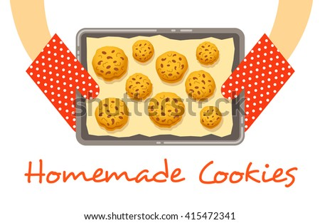 Homemade cookies on a pan, fresh baked and got out of an oven. Home bakery vector background. Female hands holding a tray with baking paper and several biscuits with chocolate. Flat illustration Foto d'archivio ©