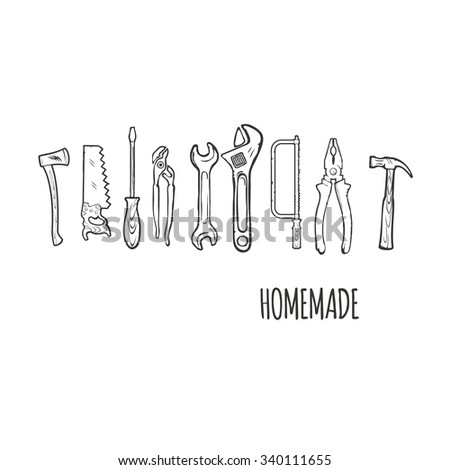 Homemade Hand tools Background Vector Illsutration #340111655