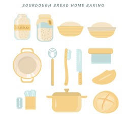 Homemade sourdough bread kit. Sourdough starter culture in mason jar. Muslin cloth. Dough scraper. Danish whisk. Proofing basket. Bench knife. Bread Lame. Dutch oven. Fresh baked loaf. Vector cartoon.