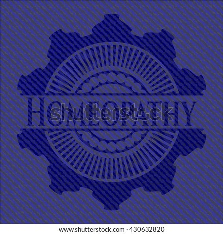 Homeopathy jean or denim emblem or badge background