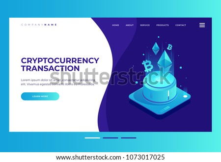 Homepage. Design template for Landing Page. Cryptocurrency and Blockchain concept. Farm for mining Ethereum. Digital money market, finance and trading. Isometric vector illustration.