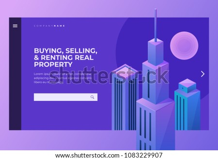 Homepage. Header for website and mobile website. Building and selling concepts. High-rise buildings against the sky. Commercial renting real property for your business. Isometric vector illustration.