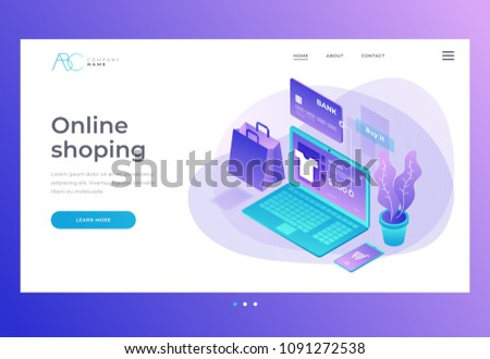 Homepage. Header for website and mobile website. Concept of online shop, online store. Transfer money from card. Isometric image of laptop and Bank card on blue background. 3d vector illustration.