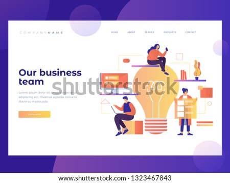 Homepage. The concept of teamwork on the Internet project in the office. Our business team. Landing Page. Name for the site. Vector illustration for web page.