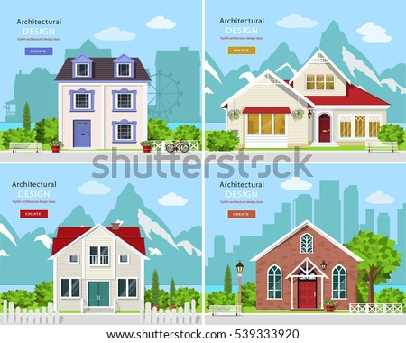 Homes set. Cute graphic private houses with city landscape and stylish houses with rocky mountains backdrop. Flat style vector illustration.