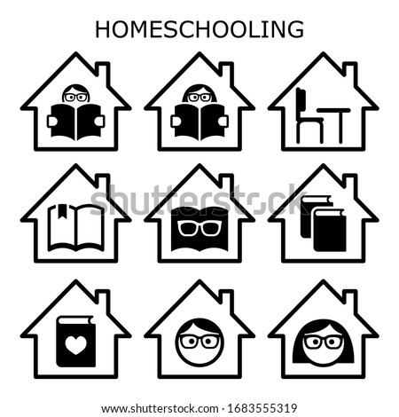 Homeschooling vector icons set, home education design, children learning while stay stay at home concept. Teacher ot tutor's lesson at home with children - primary and high school age, studying
