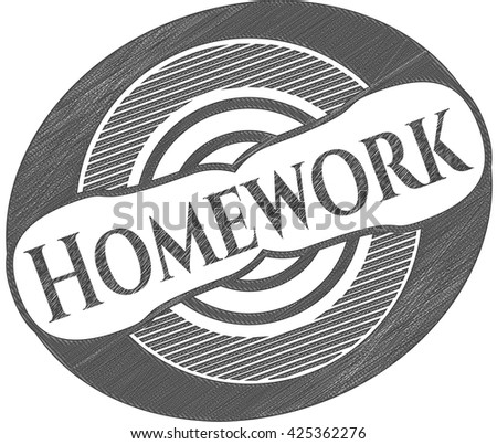 Homework emblem drawn in pencil
