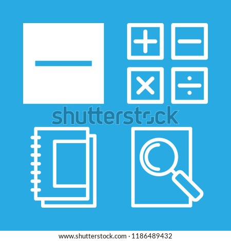 homework icons set with college notebook, mathematical symbols and substract vector set