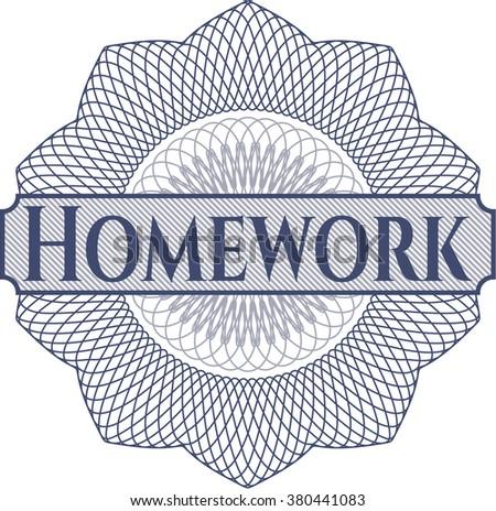 Homework inside money style emblem or rosette