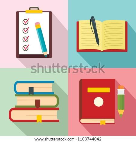 Homework study school icons set. Flat illustration of 4 homework study school vector icons for web