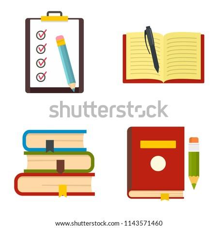 Homework study school icons set. Flat illustration of 4 homework study school vector icons isolated on white