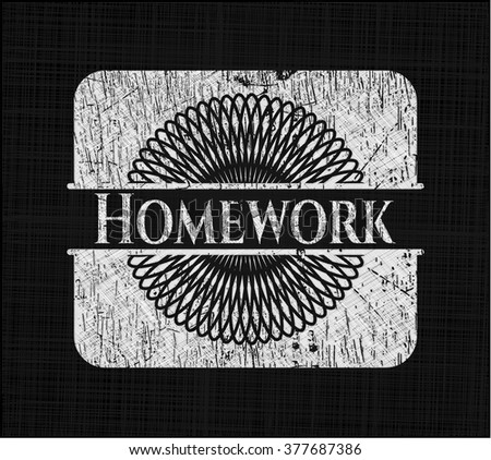 Homework written on a blackboard