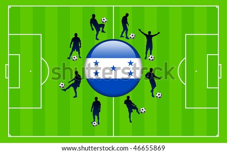 Honduras Flag Icon Internet Button with Soccer Match Original Vector Illustration
