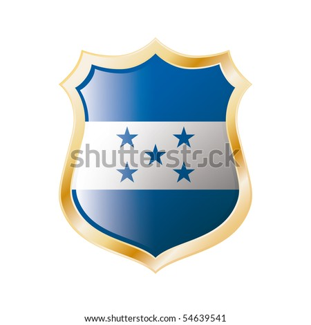 Honduras flag on metal shiny shield vector illustration. Collection of flags on shield against white background. Abstract isolated object.