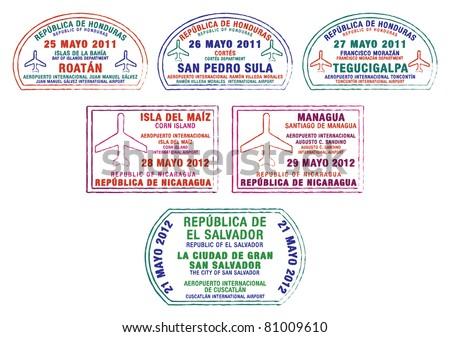 Honduras, Nicaragua and El Salvador passport stamps in vector format. - stock vector