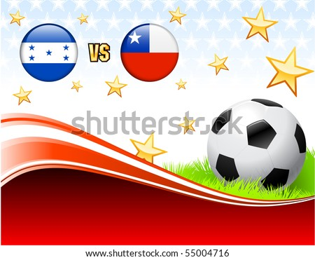 Honduras versus Chile on Abstract Red Background with Stars Original Illustration