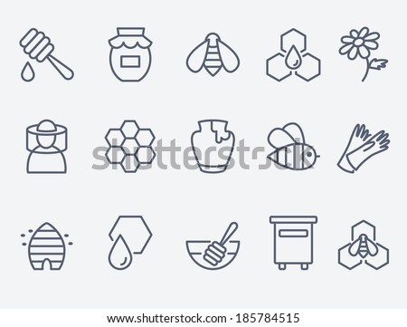 Honey and beekeeping icons