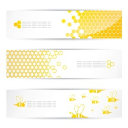 Honey and bees headers - vector illustration