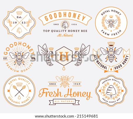 honey and bees vector badges