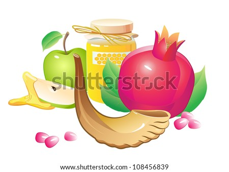 honey, apple, pomegranate and horn