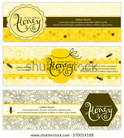 Honey banners with flowers and bees. Honey logo.