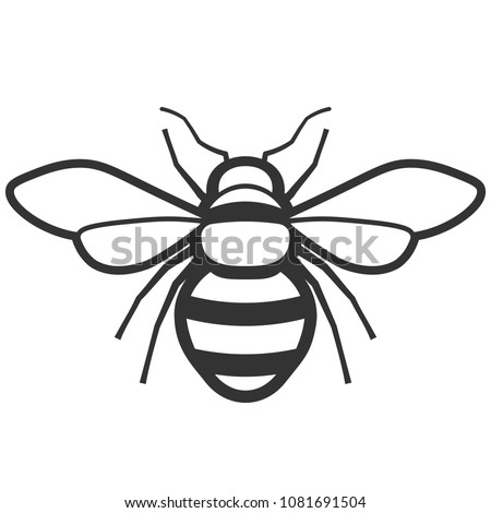 Honey bee black and white icon. Pest control clipart isolated on white background
