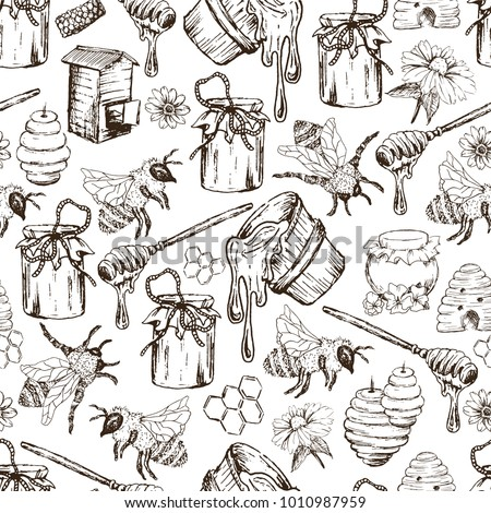 Honey Bee, Honeycomb And Jar Image Seamless Pattern Design In Sketch. Honey Comb, Pot, Bee Hive, Flowers Hand Drawn Vintage Elements On White Background Vector Illustration