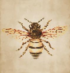 Honey Bee portrait made of geometrical shapes - Vintage Design