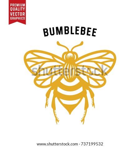 Honey Bee Vector Illustration. Vintage Bee Icon.