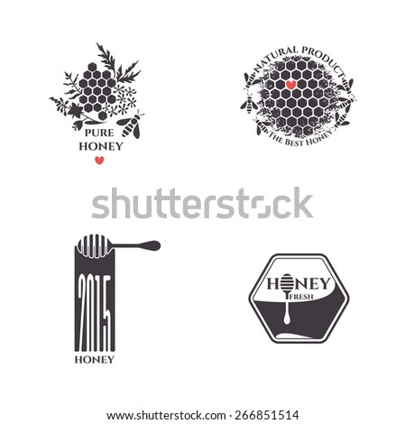 Honey bee vector set.  Badges, stickers, labels for bee products.